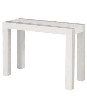 Présenté en Laqué Blanc Mat avec plateau verre dépoli blanc.