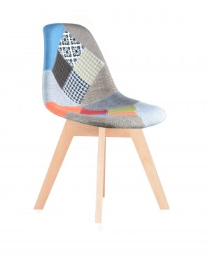 lot de 4 chaises scandinave tissu patchwork couleur. Black Bedroom Furniture Sets. Home Design Ideas