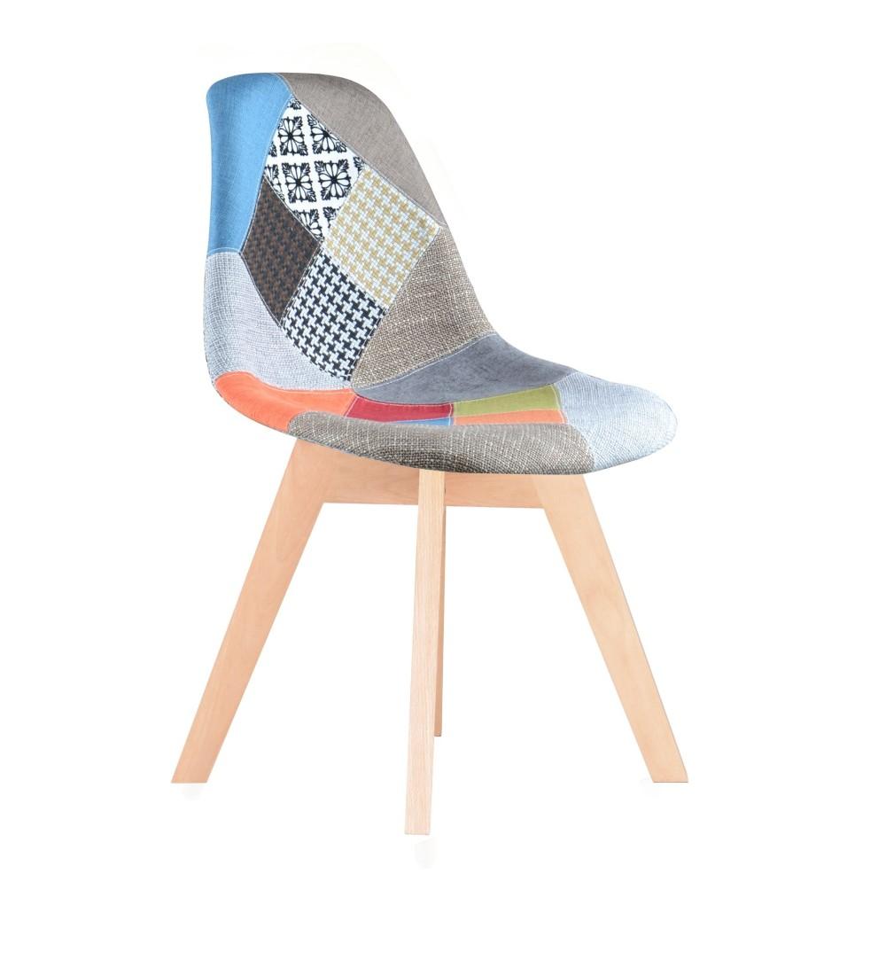 pack de 4 chaises style scandinave avec un tissu patchwork de couleurs assise rembourre pieds bois massif htre naturel garantie 2 ans - Chaises Scandinaves Couleur