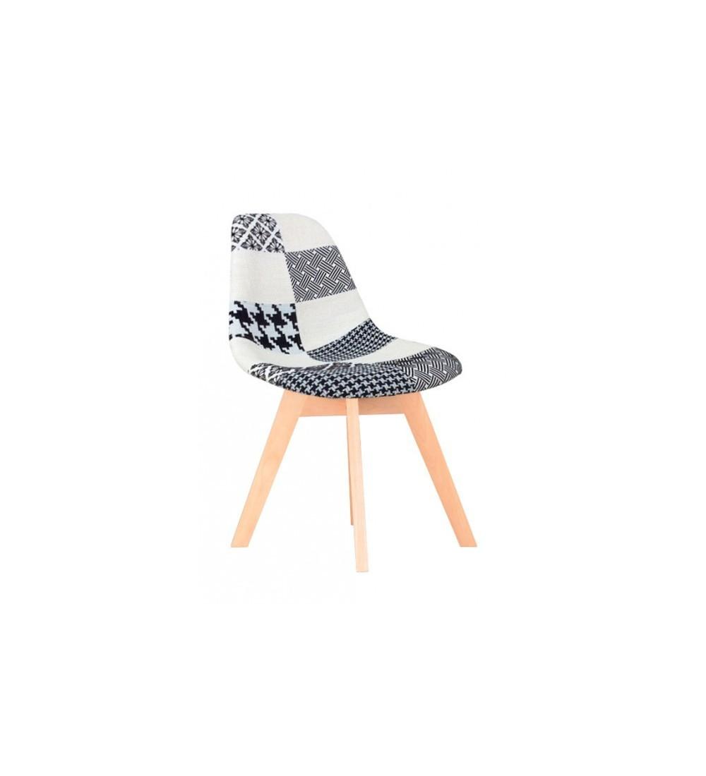 pack en promotion de 4 chaises style scandinave en tissu patchwork noir et blanc assise rembourre pieds bois massif - Chaises Scandinave