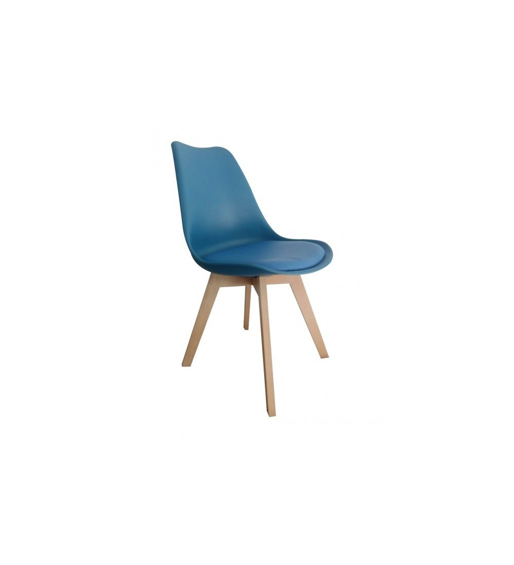 lot de 4 chaises style scandinave en plastique de couleur bleu ptrole avec assise rembourre garantie 2 ans - Chaises Scandinaves Bleu